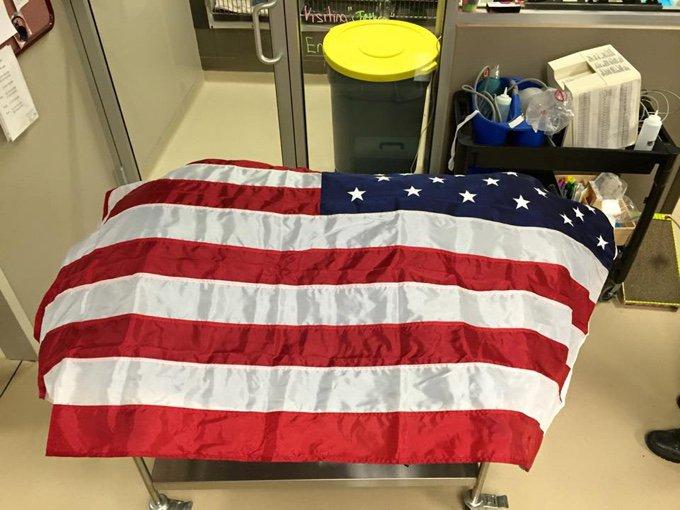Le corps du chien policier Jethro recouvert du drapeau américain