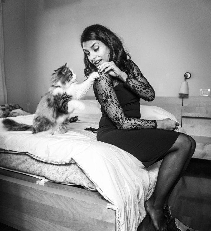 chat avec une femme