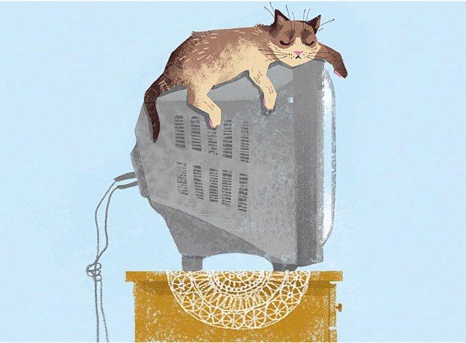 dessin d'un chat sur une télévision