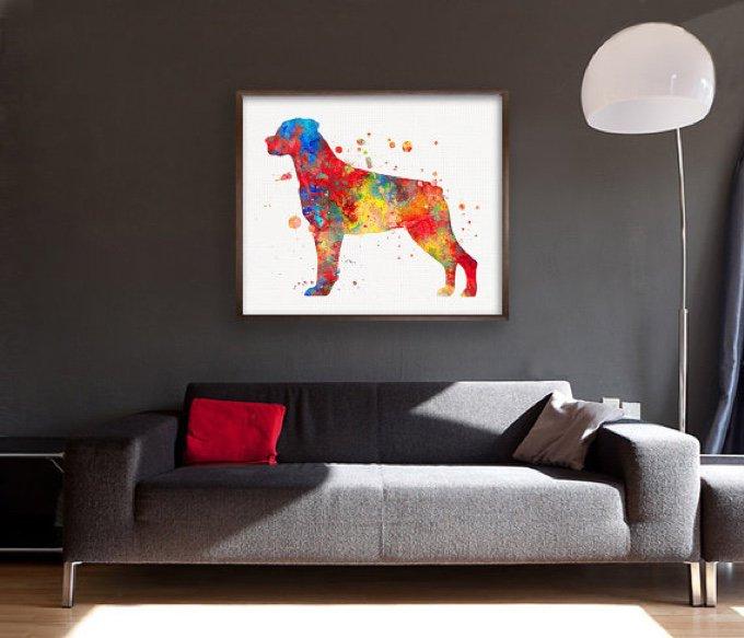 tableau aquarelle chien salon