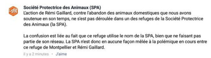 SPA commentaire Facebook
