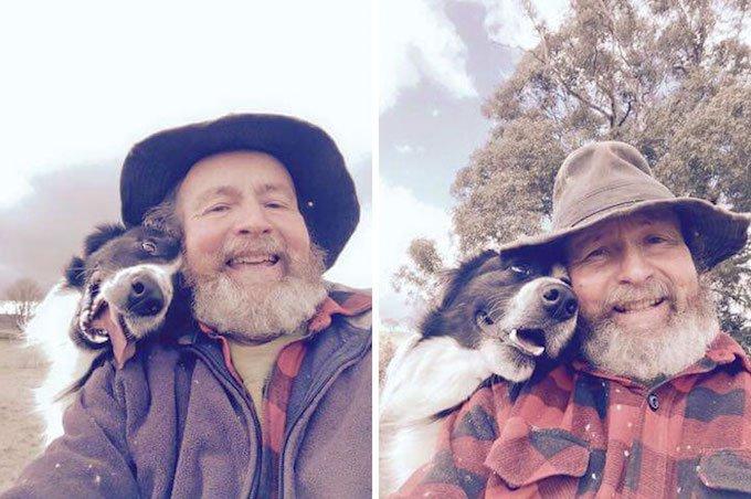 vieil homme selfie chien