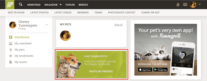 Invite your friends to join Yummypets