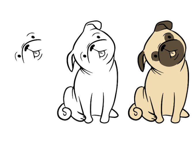 how-to-draw-a-pug-sitting