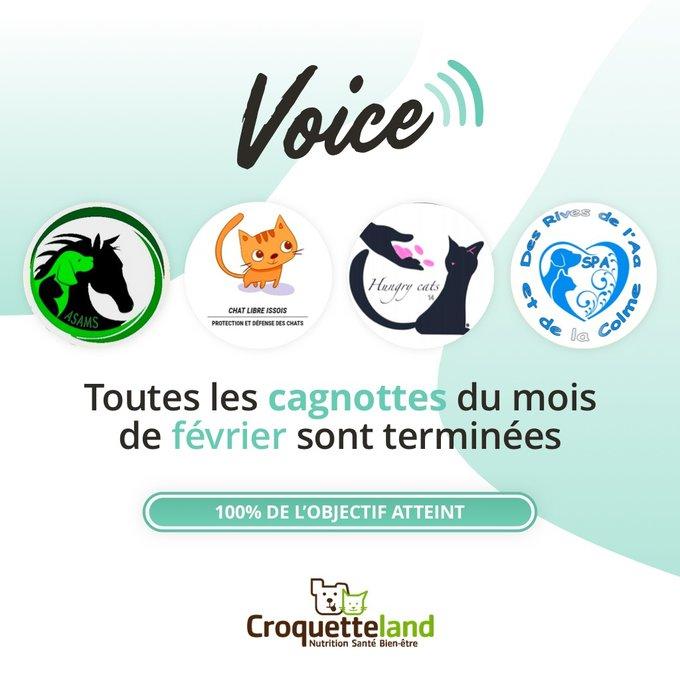 Les associations du mois de mars au programme Voice de février 2021 ont clôturé leur cagnotte avec succès.